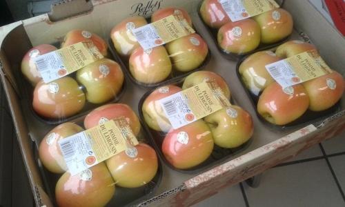 cestas manzanas rosado 4 frutas marca de distribuidor